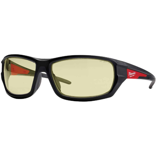 Milwaukee Performance Red & Black Frame Safety Glasses with Yellow Fog-Free Lenses