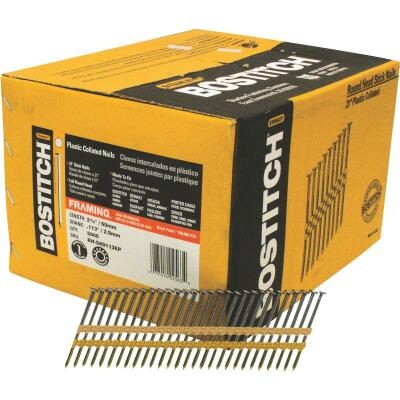 Bostitch 21 Degree Plastic Strip Coated Full Round Head Framing Stick Nails, 2-3/8 In. x .113 In. (5000 Ct.)