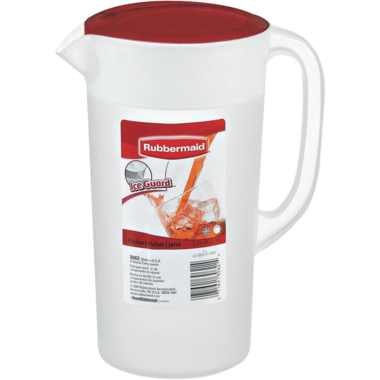 Rubbermaid Frosted Plastic Pitcher with Red Lid, 2.25 Qt. Image 2