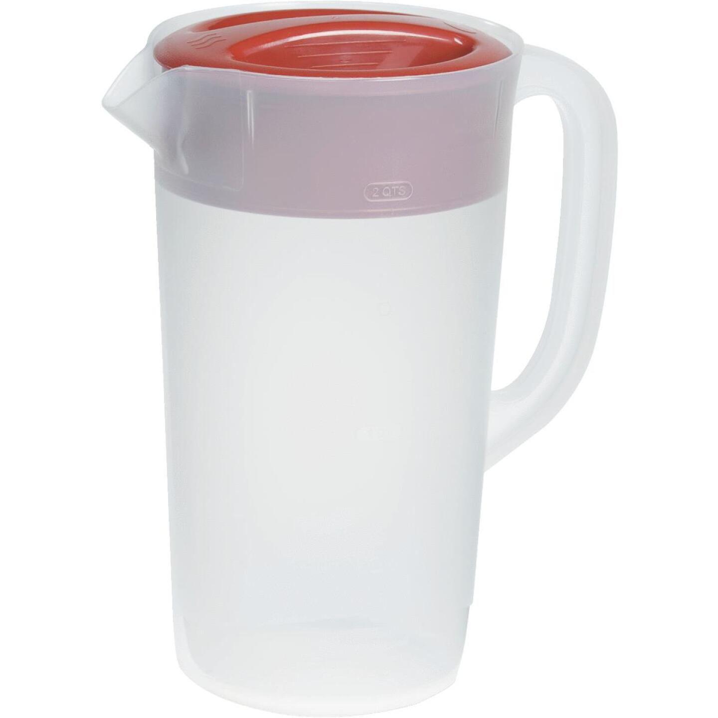 Rubbermaid Frosted Plastic Pitcher with Red Lid, 2.25 Qt. Image 1