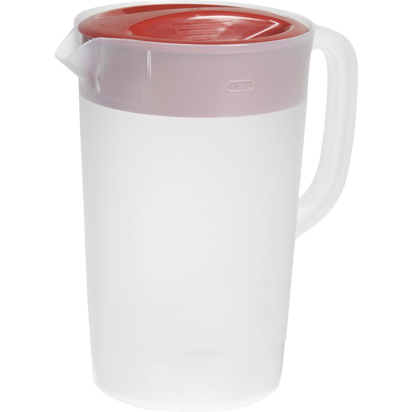 Rubbermaid Frosted Plastic Pitcher with Red Lid, 1 Gal. Image 1