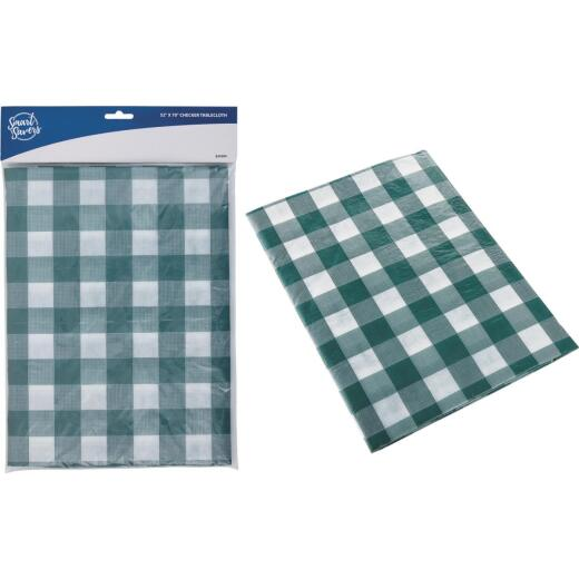Smart Savers 52 In. W. x 70 In. L. Green & White Checkerboard Tablecloth