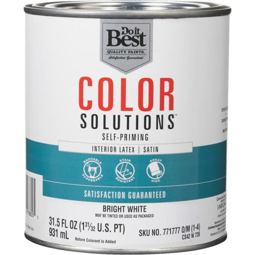 Do it Best Color Solutions Latex Self-Priming Satin Interior Wall Paint, Bright White, 1 Qt.