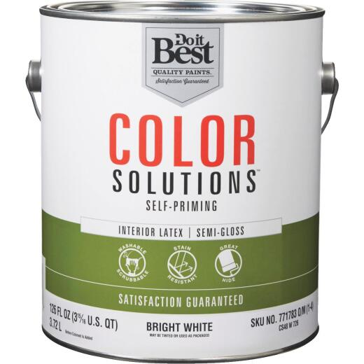 Do it Best Color Solutions Latex Self-Priming Semi-Gloss Interior Wall Paint, Bright White, 1 Gal.